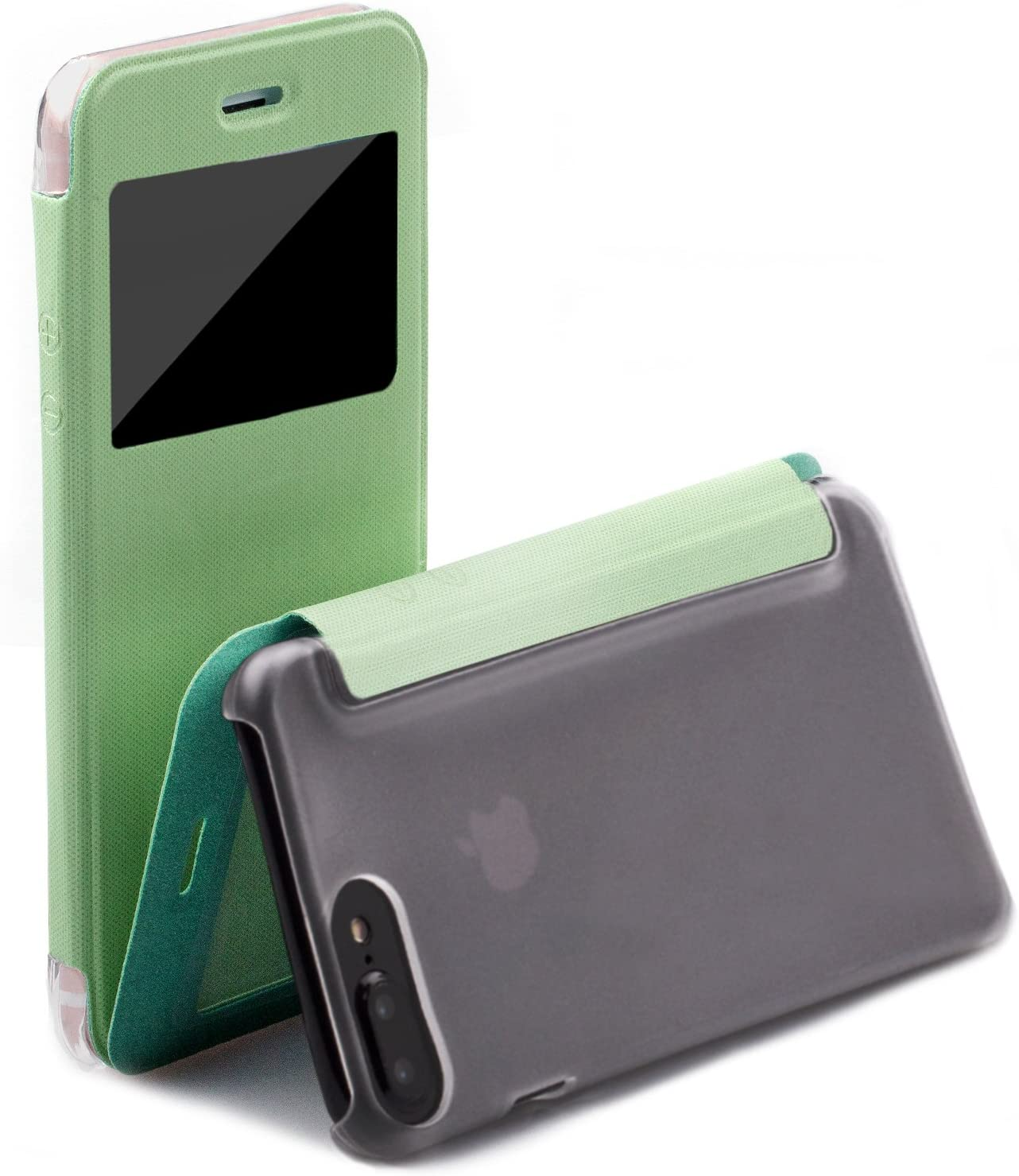 iCues | Compatible with Apple iPhone 7 Plus Case | Peacock Mint Green | Poblano Cover | Folio Wallet Flip Leather Clear Window Minimalist Ultra Slim Thin