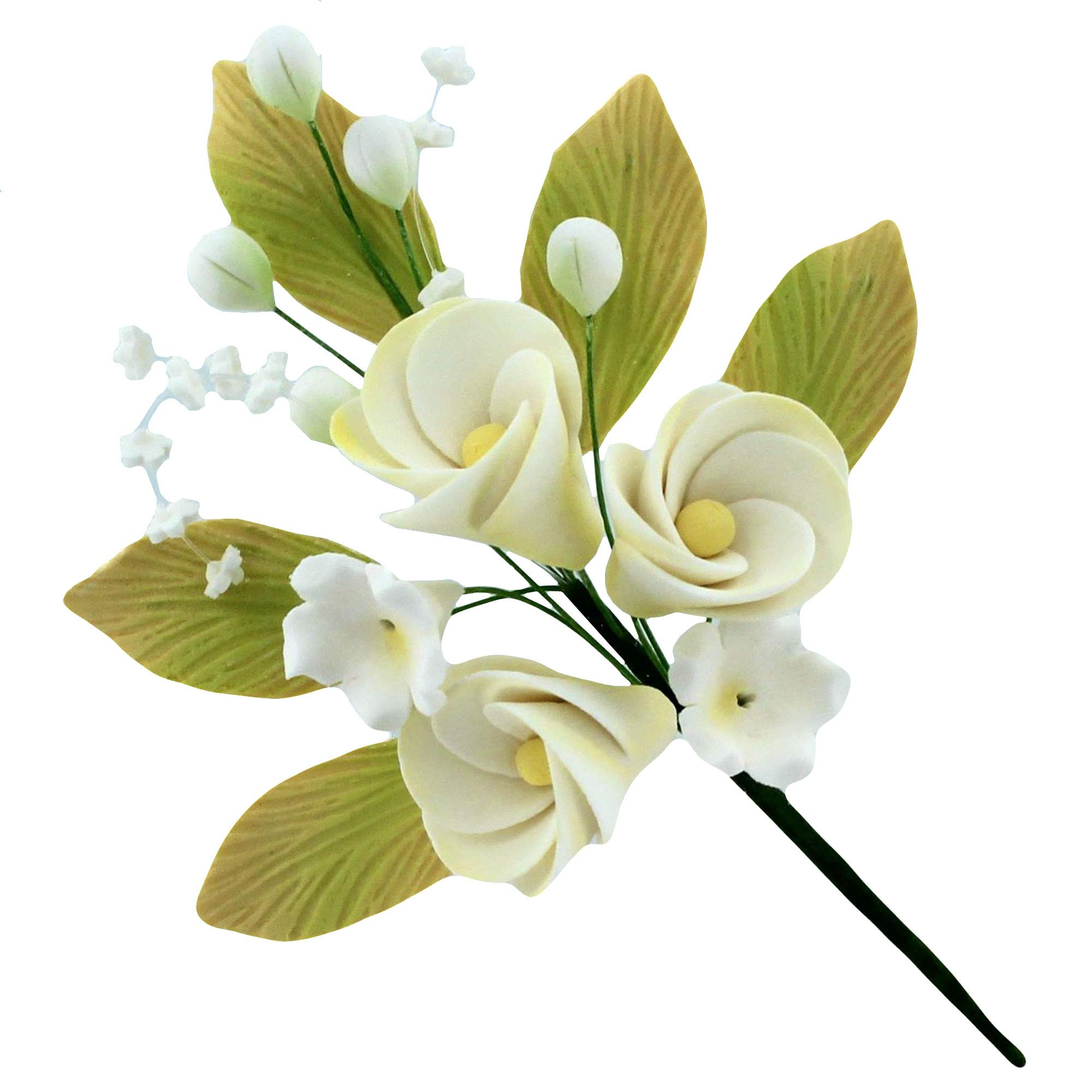 Global Sugar Art Frangipani Spray Sugar Flowers, White with Yellow, 18 Count by Chef Alan Tetreault