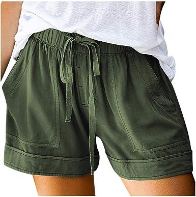 Women Summer Drawstring Elastic Waist Shorts Casual Cargo Beach Baggy Hot Pants