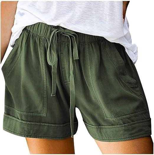 Summer Women Drawstring Splice Elastic Waist Pocketed Loose Casual Shorts Pants