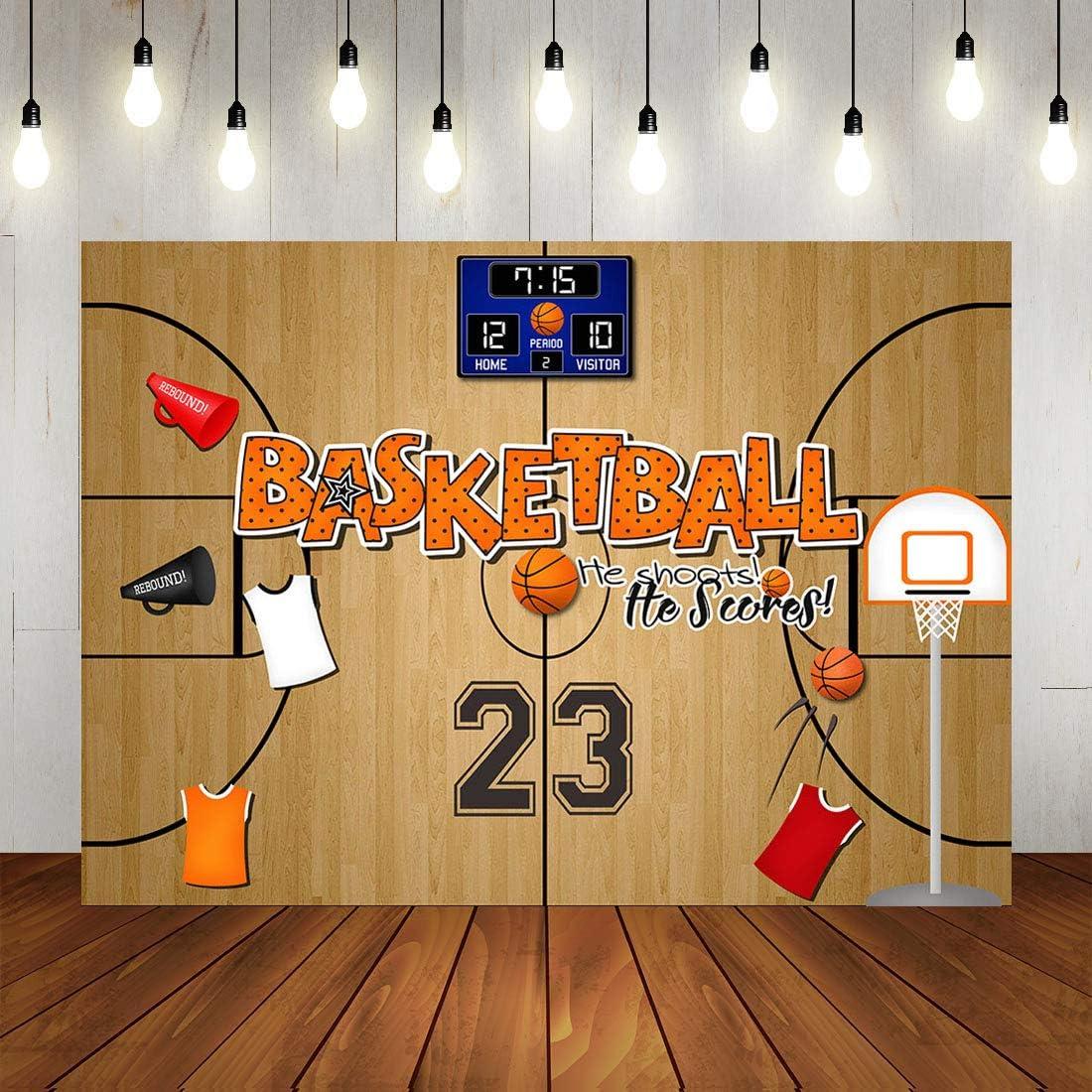 DORCEV 9x9ft Basketball Photography Backdrop Basketball Theme Boys Birthday Party Background Basketball Team Training Room Wallpaper Decoration Boys Portraits Photo Studio Props