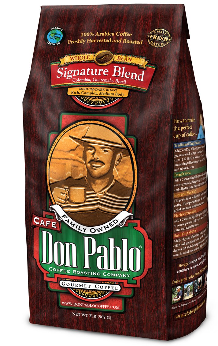 2LB Cafe Don Pablo Gourmet Coffee Signature Blend - Medium-Dark Roast Coffee - Whole Bean Coffee - 2 Pound ( 2lb ) Bag by Cafe Don Pablo