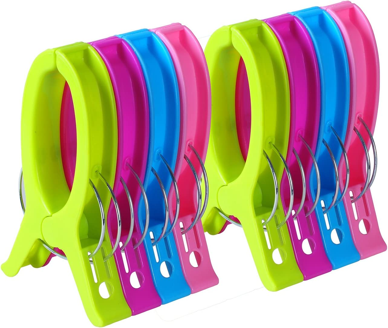 ECROCY 8 Pack Jumbo Size Beach Towel Clips for Beach Chairs Or Lounge Chair - Keep Your Towel from Blowing Away