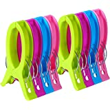 ECROCY 8 Pack Jumbo Size Beach Towel Clips for Beach Chairs Or Lounge Chair - Keep Your Towel from Blowing Away,Clothes…