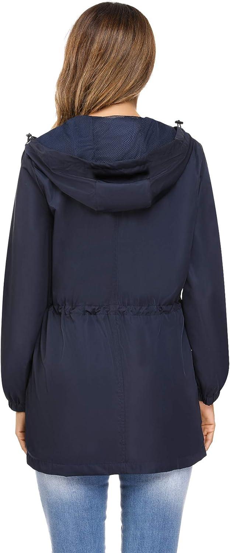 Irevial Waterproof Women Coats Ladies Long Sleeve Outdoor Hooded Winderproof Jacket Lightweight Active Raincoat Windbreaker