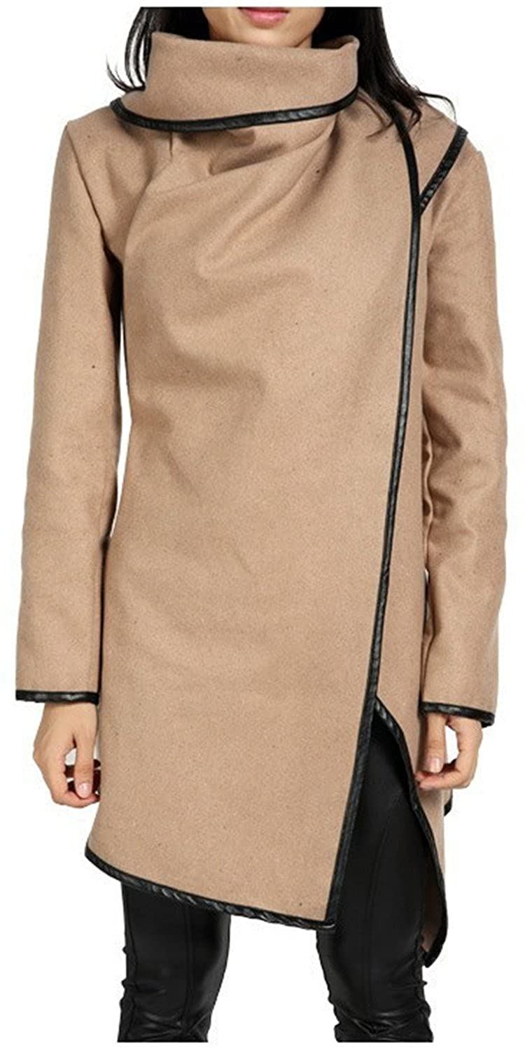 Amazon.com: Ivan Johns Warm Hot Sale Irregular Asymmetry Long Trench Coat Women Overcoat Womens Coats Manteau Abrigos Mujer AWC0016: Clothing