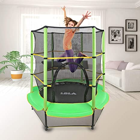 "LBLA Kids Trampoline, 55"" Mini Trampoline for Kids with Enclosure Net and Safety Pad"