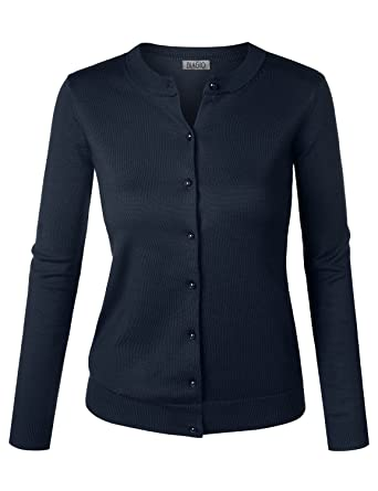 e21e8e5a418 BIADANI Women Pearl Button Down Long Sleeve Soft Knit Cardigan Sweater Navy  Small