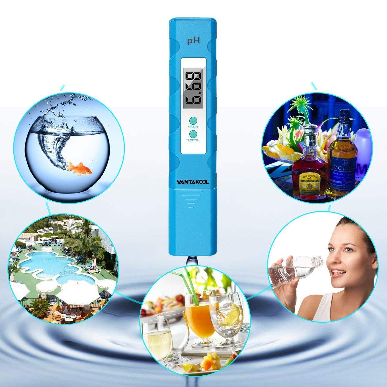 Yellow VantaKool PH Meter Cakie Digital Meter Pool and Aquarium Water PH Tester Design with ATC 0.01 High Accuracy Quality 0-14 Measurement Range for Household Drinking