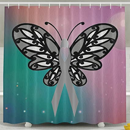 Butterfly Cancer Ribbons Shower Curtain Fabric Bathroom Set72x60 Inch