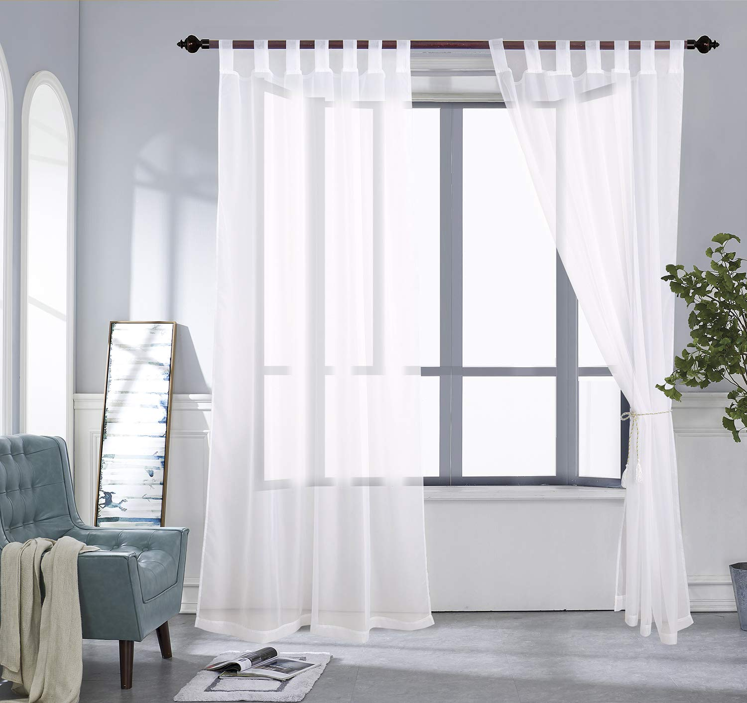 PRAVIVE Outdoor Sheer Curtain Panels Off White Elegant Water Repellent Grommet Indoor//Outdoor Drapes//Pergola Shades//Gazebo Blinds for Patio Privacy with Tiebacks 54 W X 96 L Set of 2