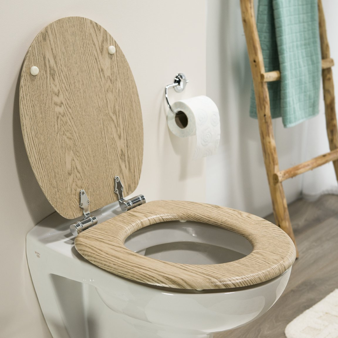 Tiger Steigerhout 252022546 Toilet Seat with Soft-Closing Mechanism Natural Wood Look