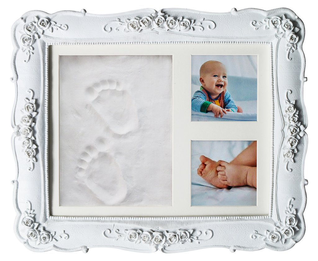 Unique Baby Handprint Footprint Clay DIY kit Newborn Boy Girl and Dog Prints Baby Shower Gifts Registry New Mom Parents or Nursery Wall Maternity Gift Keepsake Picture Frame