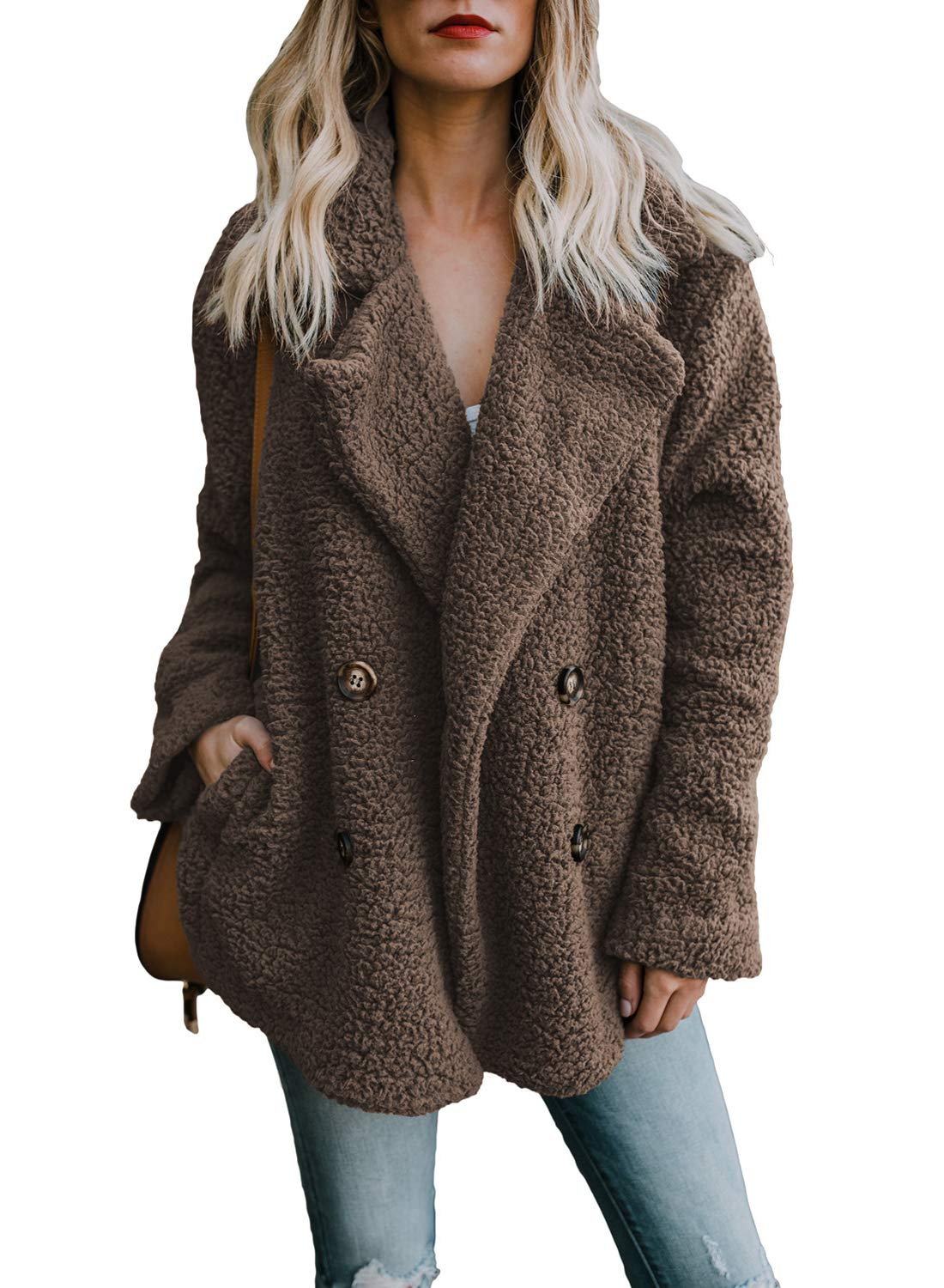 Actloe Women Fleece Open Front Long Sleeve Cardigan Casual Coat with Pockets Coffee Small by Actloe
