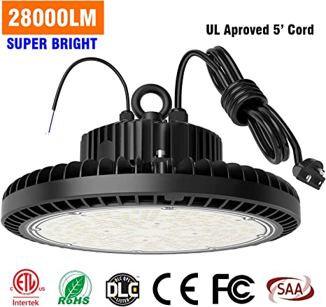 LED High Bay Lights 200W 28000LM Dimmable LED UFO High Bay Warehouse Lighting