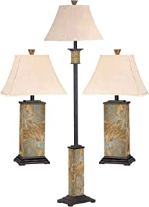 Kenroy Home 31207 Bennington Lamp Sets, Natural Slate Finish