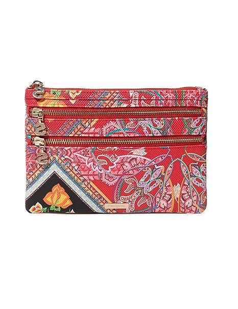 Desigual - Wallet Folklore Cards Multizip Women, Carteras Mujer, Rojo (Rojo Contra)