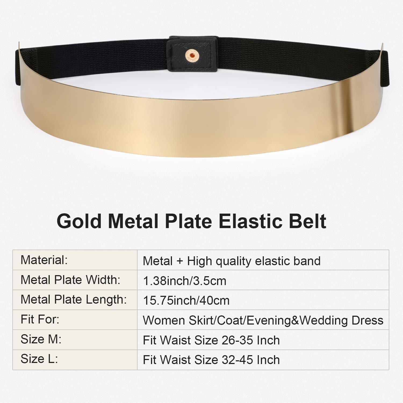 JASGOOD Gold Belts for Women Fashion Dress Belt Metal Plate Mirror Elastic Stretch Waist Belt with Snap Button (Gold Black,Fit Waist Size 32-45 Inch)
