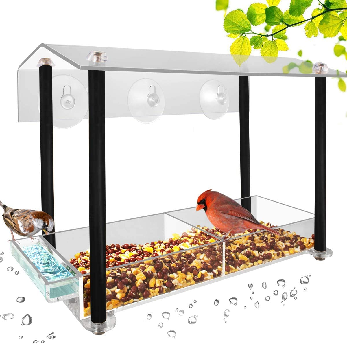 HHXRISE Acrylic Window Bird Feeder, Large Size with Suction Cups & Seed Tray, Creative Water Sink & Bird Home Design, Weatherproof with Shield Roof & Drain Hole, Outdoor Acrylic Bird House (12 inch) …