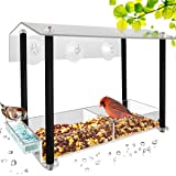 HHXRISE Acrylic Window Bird Feeder, Large Size with Suction Cups & Seed Tray, Creative Water Sink & Bird Home Design, Weatherproof with Shield Roof & Drain Hole, Outdoor Acrylic Bird House (12 inch)