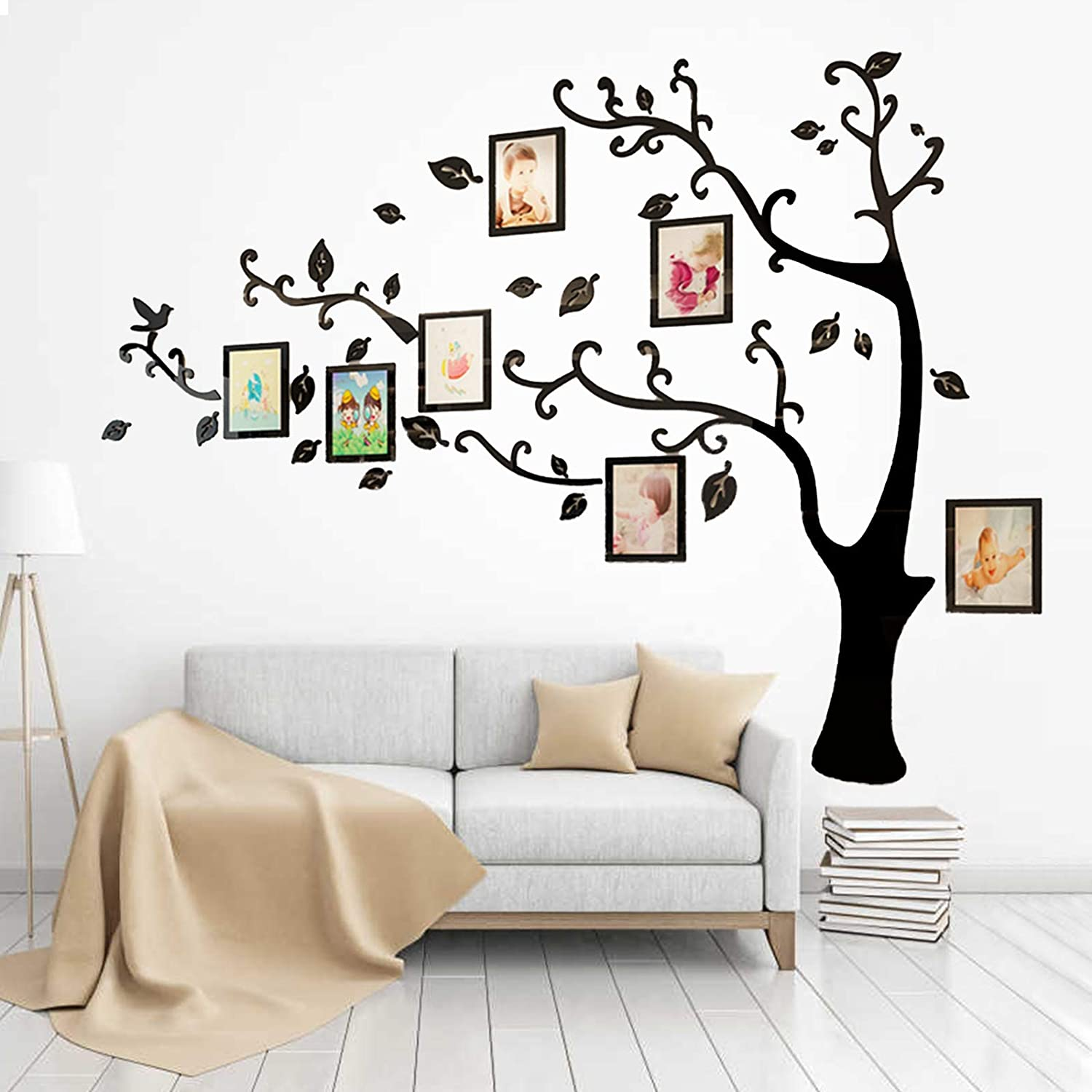 3D Tree Wall Stickers Frames Family Tree Wall Decal DIY Photo Gallery Frame Stickers Crystal Acrylic Mural Decor Sticker Home Art Decor for Living Room Sofa TV Art Wall Background (XL, Black Right)