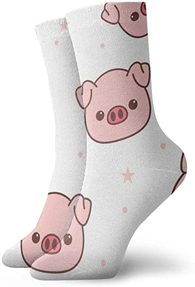 Amazon Com Pig Face Cartoon Cushion Crew Socks Essential Sport Wicking Work For Men And Women Clothing