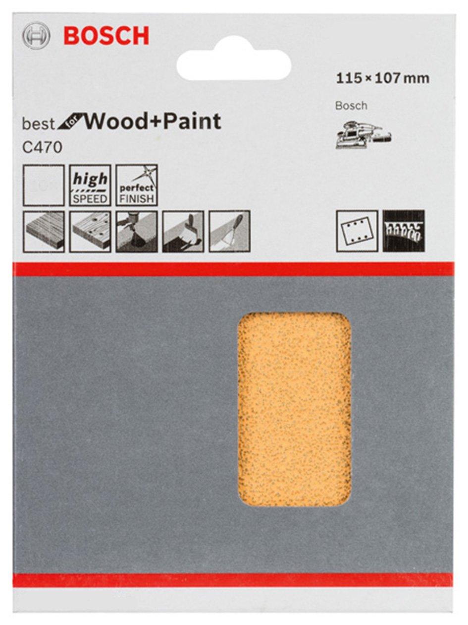 Bosch 2608607455 Feuille abrasif pour ponceuse vibrante 115 x 107 mm Grain 40 10 pi/èces