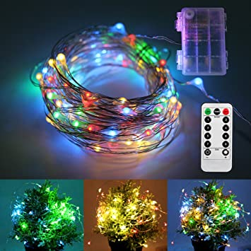 Remote Control LED String Lights 33FT 8 Modes 100 LED Waterproof Battery  Operated Fairy Decoration Lights