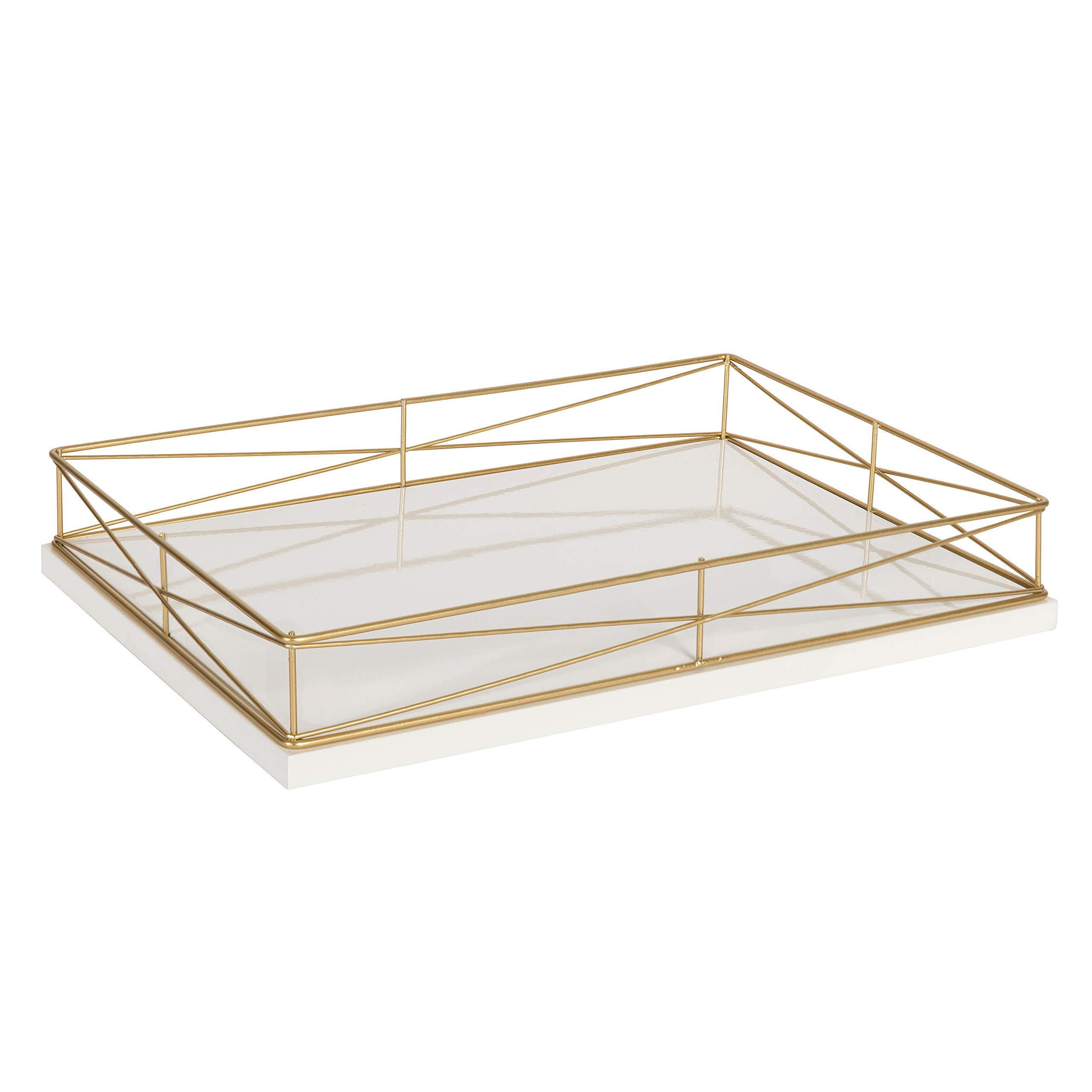Kate and Laurel Mendel Rectangle Tray with Decorative Metal Rim, 16.5 x 12, White and Gold
