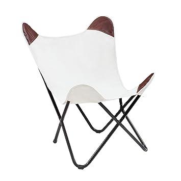 Klappstuhl designklassiker  Sessel BUTTERFLY Canvas natur Designklassiker mit Eisengestell ...