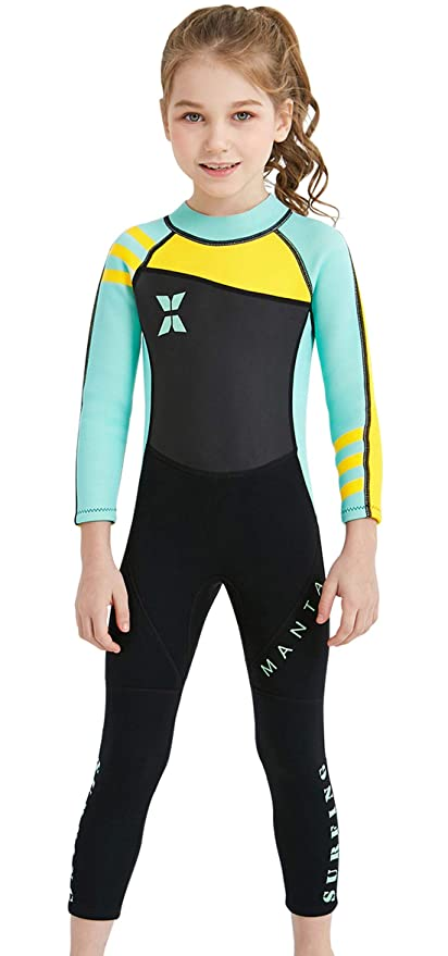 bb679116eb DIVE & SAIL Toddler Girls Neoprene Full Body Wetsuit Long Sleeve 2.5mm  Thickness Thermal Siwmsuit