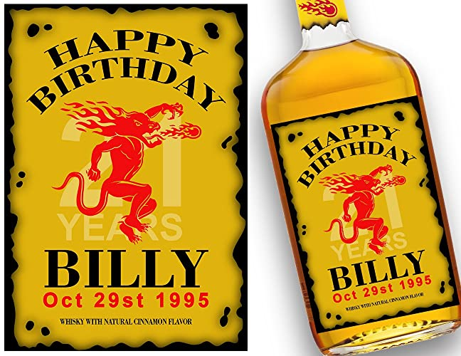Amazon Fireball Label Whisky Custom Gift Ideas Happy Birthday For Best Friend Him Personalized Labels Handmade