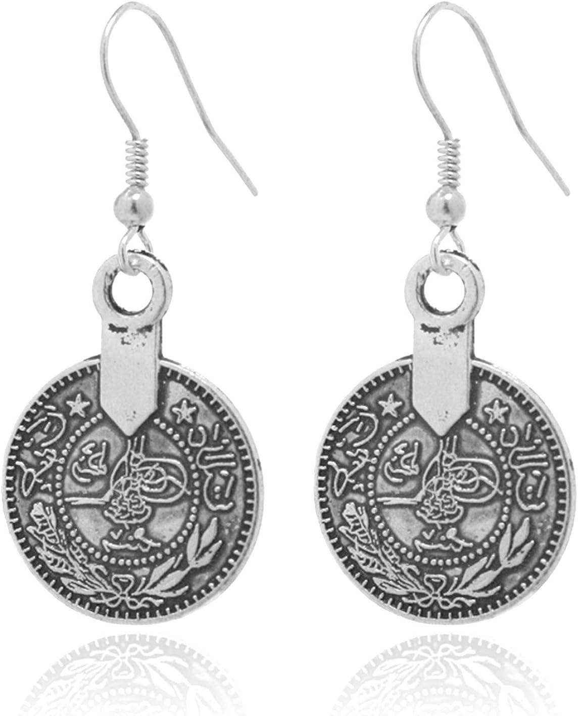 2LIVEfor Taler - Pendientes redondos de monedas étnicas, estilo bohemio, vintage, retro, largos, colgantes, estilo antiguo, gotas