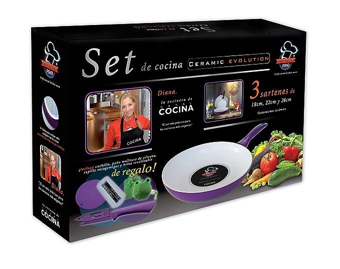 Set de 3 Sartenes de Ceramica Chef Master Pro + 4 accesorios de regalo: Amazon.es: Hogar