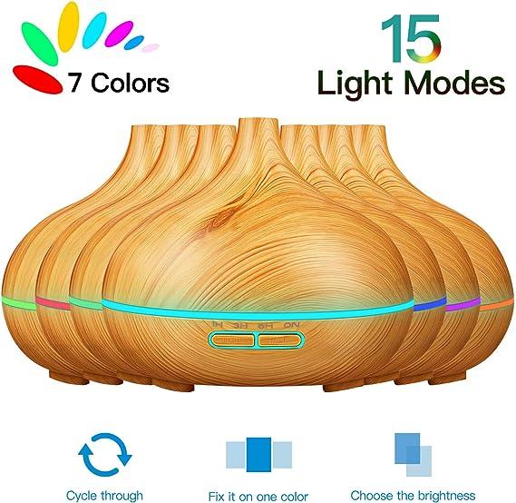 Difusor de aceite esencial, difusor de aceite de 550 ml con 7 luces de colores y 4 temporizadores, difusor de aromaterapia con función de apagado automático (Light Grain): Amazon.es: Salud y cuidado personal