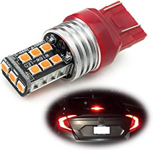 iJDMTOY (1) Strobe/Flashing Feature Red 15-SMD LED Replacement Bulb Compatible With 2012-up Honda Civic Sedan Third Brake Light.