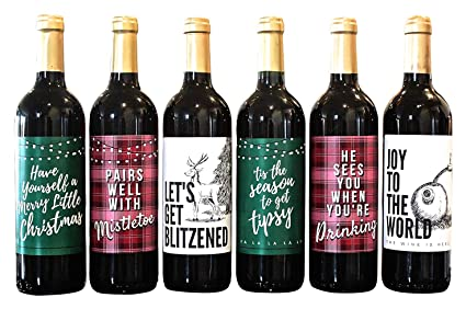 Amazon Com Wine Bottle Labels For Christmas Party Decorations And