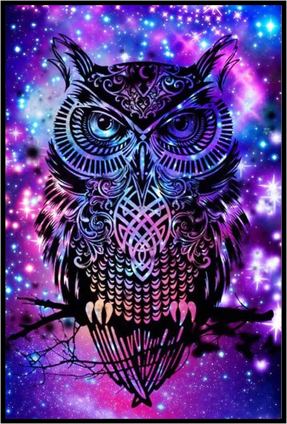 Kaychan DIY 5D Diamond Painting Numbering Kit Painting Cross Stitch Full Diamond Crystal Rhinestone Embroidery Picture Art Craft, Home Decoration 16x12 Starry Owl