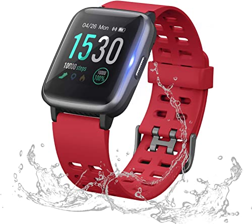 ANGGO Upgraded Fitness Tracker Watch HR, Smart Watches Activity Trackers IP68 Waterproof with Heart Rate Monitor Step Pedometer Calorie Counter for Men Women Kids Red