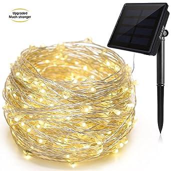 Ankway Led Lichterkette Solar Lichterketten (200led 3 Strang Kupferdraht  72ft 8 Modi),
