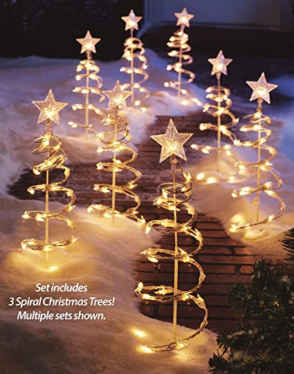 lighted spiral christmas tree garden stakes set of 3 - Spiral Christmas Tree Lighted