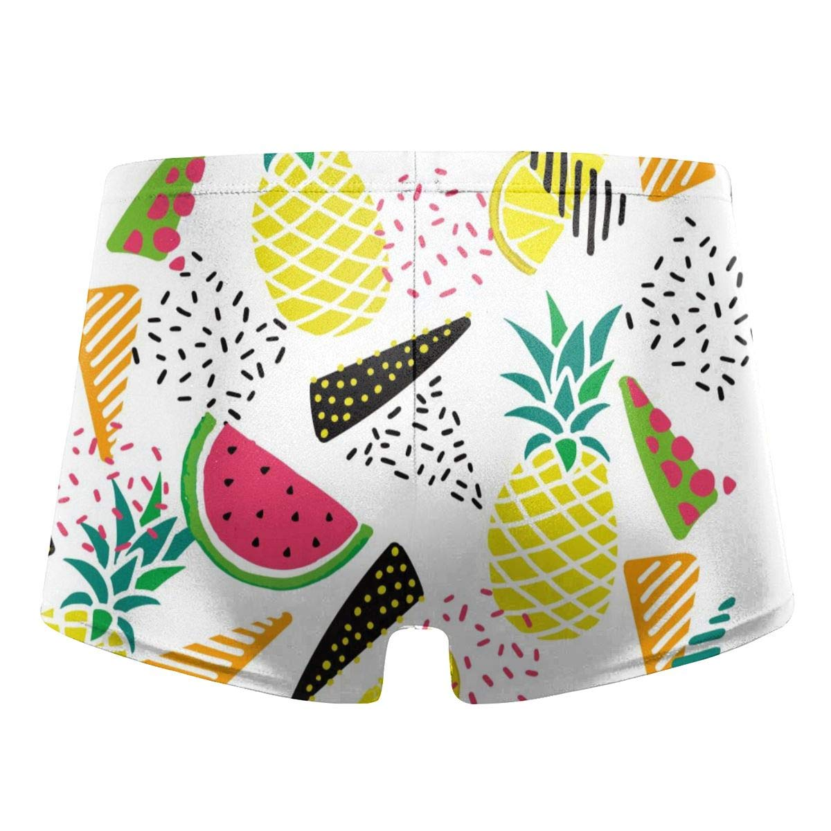 G66TCX Mens Swim Trunks Fruit Print Board Shorts Square Leg Solid Basic Long Swim Boxer Swim Underwear