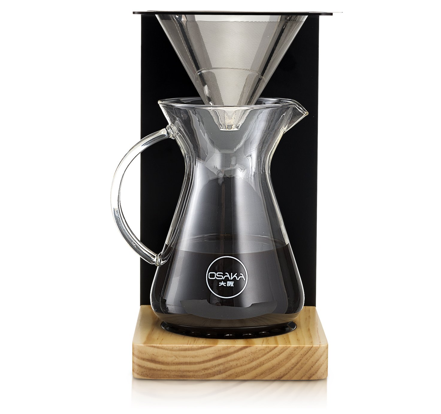 Osaka Wood Pour-Over Coffee Station - Full Brewing Set for a Homemade Pourover - 20oz. Capacity.''Mount Zao''