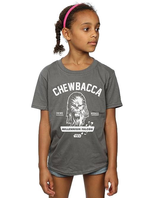 Star Wars niñas Chewbacca Collegiate Camiseta: Amazon.es: Ropa y accesorios