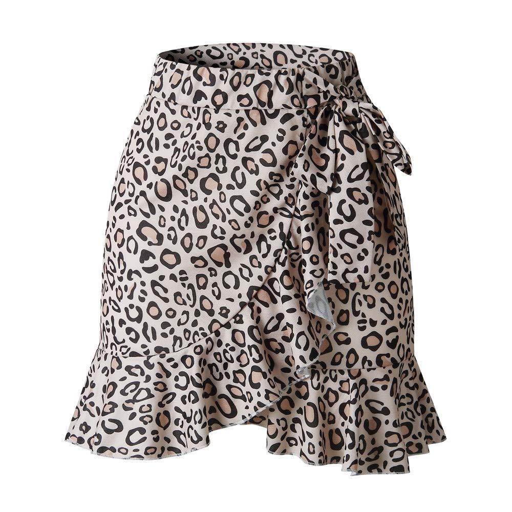 Ruffled Laced Irregular Skirt,Women's Plaid Mid Waist Asymmetrical Hem Above Knee Elegant Short Skirt,Brown,M