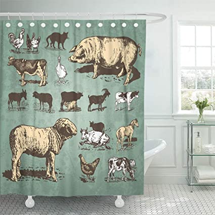 Emvency Shower Curtain Set Waterproof Adjustable Polyester Fabric Vintage Farm Animals Drawings Livestock And Poultry Retro