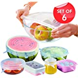 Lukzer 6 Pc Microwave Safe Silicone Stretch Lids Flexible Covers for Utensils, Bowls, Dishes,Plates Jars, Cans, Mugs, Food Safety Reusable Lids (Transparent)