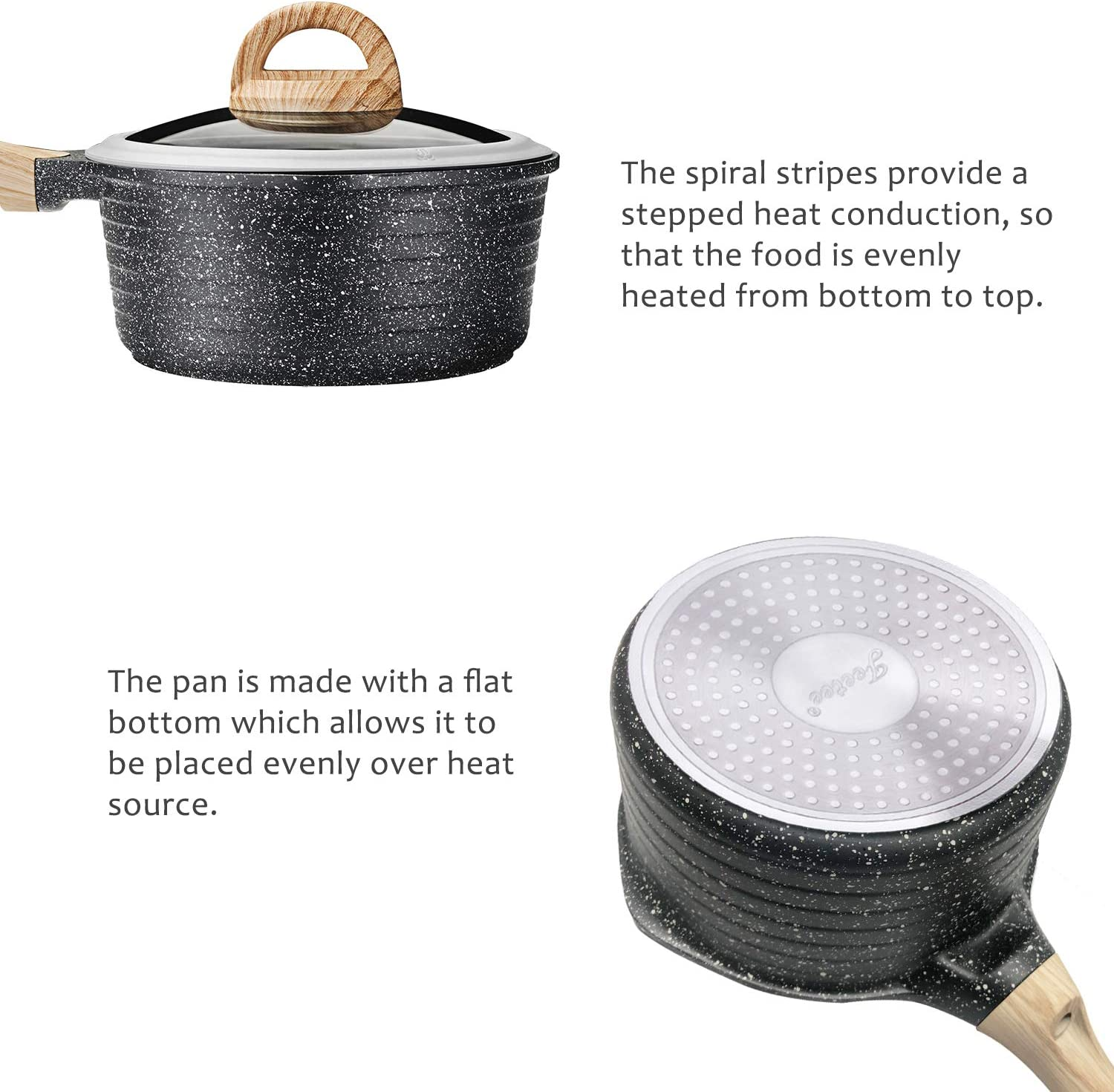Jeetee 8 Inch//2.2 Quart Nonstick Saucepan Stone Coating Milk Pan with Silicone Rim Lid and Wooden Handle PFOA-Free Milk Saucepan Suitable For All Stove Induction Compatible