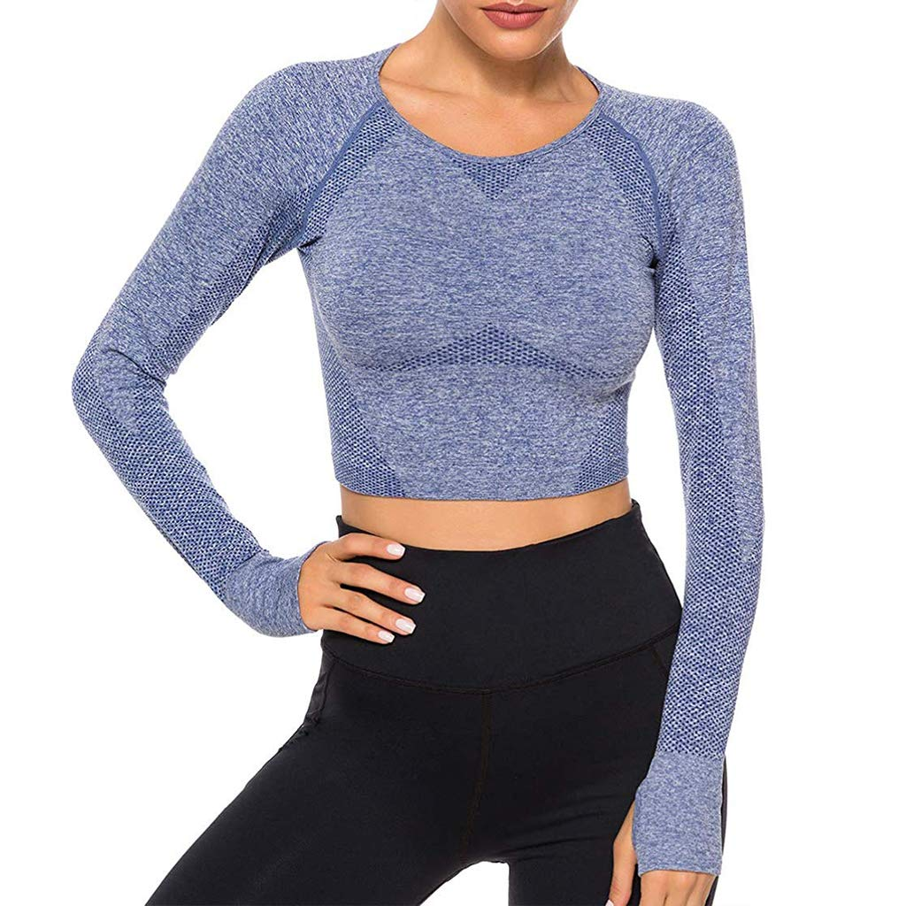 Women Seamless Long Sleeve Yoga Crop Top Thumb Hole Compression Workout Activewear Shirts