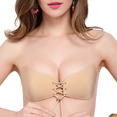 9b34301d3d9a2 ANGOOL Women Breathable Silicone Self-Adhesive Stick On Push Up Strapless  Invisible Bra Adjustable Rope  Amazon.co.uk  Clothing